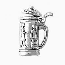 Charms. Sterling Silver, 11.0mm Width by 7.2mm Length by 16.5mm Height, Large Beer Stein Charm. Quantity Per Pack: 1 Piece.