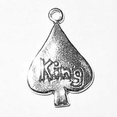 Charms. Sterling Silver, 13.5mm Width by 2.3mm Length by 19.4mm Height, King of Spades Charm. Quantity Per Pack: 1 Piece.