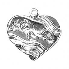 Charms. Sterling Silver, 20.2mm Width by 2.0mm Length by 19.0mm Height, Heart With Footprints Charm. Quantity Per Pack: 1 Piece.