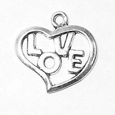 Charms. Sterling Silver, 16.5mm Width by 1.3mm Length by 16.2mm Height, Love & Heart Charm. Quantity Per Pack: 1 Piece.