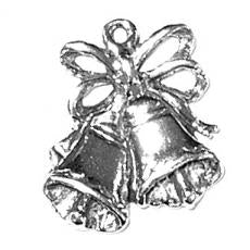 Charms. Sterling Silver, 15.9mm Width by 2.3mm Length by 17.6mm Height, Wedding Bells Charm. Quantity Per Pack: 1 Piece.