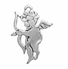 Charms. Sterling Silver, 12.5mm Width by 0.8mm Length by 16.6mm Height, Cupid Charm. Quantity Per Pack: 1 Piece.