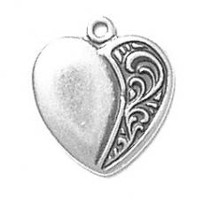 Charms. Sterling Silver, 15.5mm Width by 1.2mm Length by 17.3mm Height, Heart Charm. Quantity Per Pack: 1 Piece.