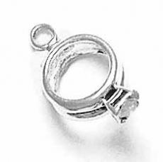Charms. Sterling Silver, 10.6mm Width by 4.6mm Length by 18.4mm Height, Diamond Ring Charm. Quantity Per Pack: 1 Piece.