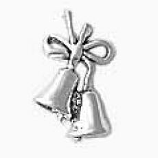 Charms. Sterling Silver, 11.7mm Width by 6.3mm Length by 18.6mm Height, Wedding Bells Charm. Quantity Per Pack: 1 Piece.