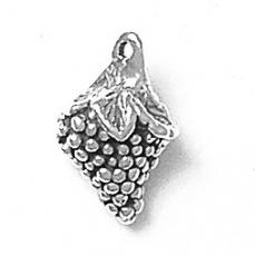 Charms. Sterling Silver, 11.1mm Width by 9.1mm Length by 18.2mm Height, Grapes Charm. Quantity Per Pack: 1 Piece.