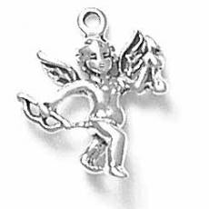 Charms. Sterling Silver, 16.6mm Width by 4.5mm Length by 19.0mm Height, Cupid Charm. Quantity Per Pack: 1 Piece.
