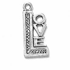 Charms. Sterling Silver, 8.5mm Width by 1.5mm Length by 18.7mm Height, Love Charm. Quantity Per Pack: 1 Piece.