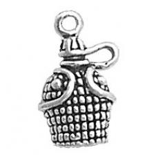 Charms. Sterling Silver, 10.8mm Width by 5.7mm Length by 16.0mm Height, Canteen Charm. Quantity Per Pack: 1 Piece.