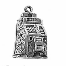 Charms. Sterling Silver, 10.8mm Width by 9.0mm Length by 17.7mm Height, Slot Machine Charm. Quantity Per Pack: 1 Piece.