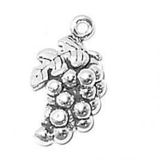 Charms. Sterling Silver, 12.3mm Width by 5.5mm Length by 22.0mm Height, Grapes Charm. Quantity Per Pack: 1 Piece.