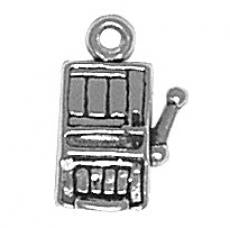 Charms. Sterling Silver, 10.4mm Width by 6.0mm Length by 15.3mm Height, Slot Machine Charm. Quantity Per Pack: 1 Piece.