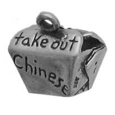 Charms. Sterling Silver, 14.1mm Width by 9.3mm Length by 12.8mm Height, Chinese Takeout Charm. Quantity Per Pack: 1 Piece.