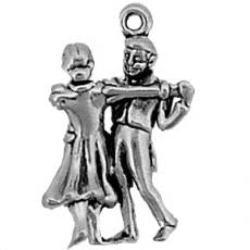 Charms. Sterling Silver, 15.8mm Width by 8.9mm Length by 24.2mm Height, Dancing Couple Charm. Quantity Per Pack: 1 Piece.