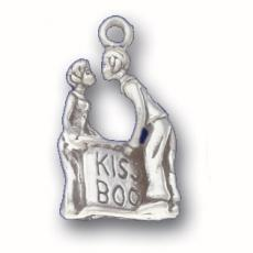 Charms. Sterling Silver, 13.5mm Width by 6.1mm Length by 22.0mm Height, Kissing Booth Charm. Quantity Per Pack: 1 Piece.
