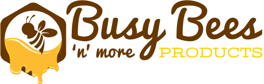 Busy Bees 'N' More Logo. Brown Hexagon With Brown Bee & Yellow Honey Flowing Out Of It. Brand Name In Cursive To The Right