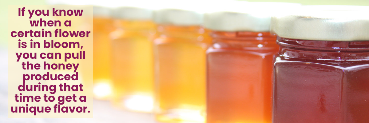 If you know when a certain flower is in bloom, you can pull the honey produced during that time to get a unique flavor.