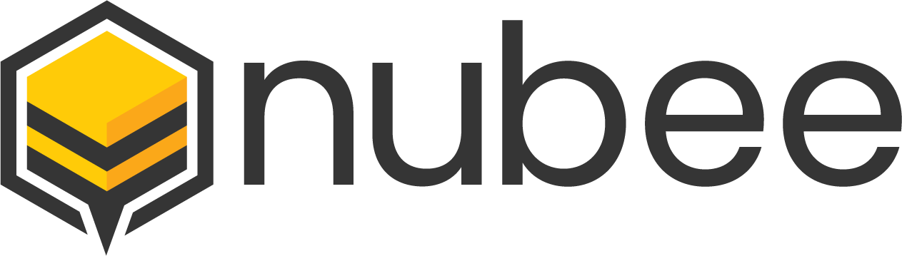 NuBee Logo. Minimalistic Black Hexagon With Bottom Point as Bee Stinger. Yellow And Black Stripes Turn Cell Into Bee. W/ Name