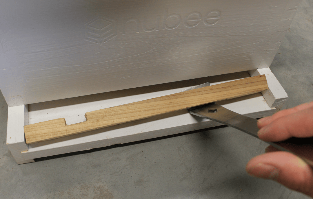 The wedged entrance reducer has been pulled out by the hive tool.