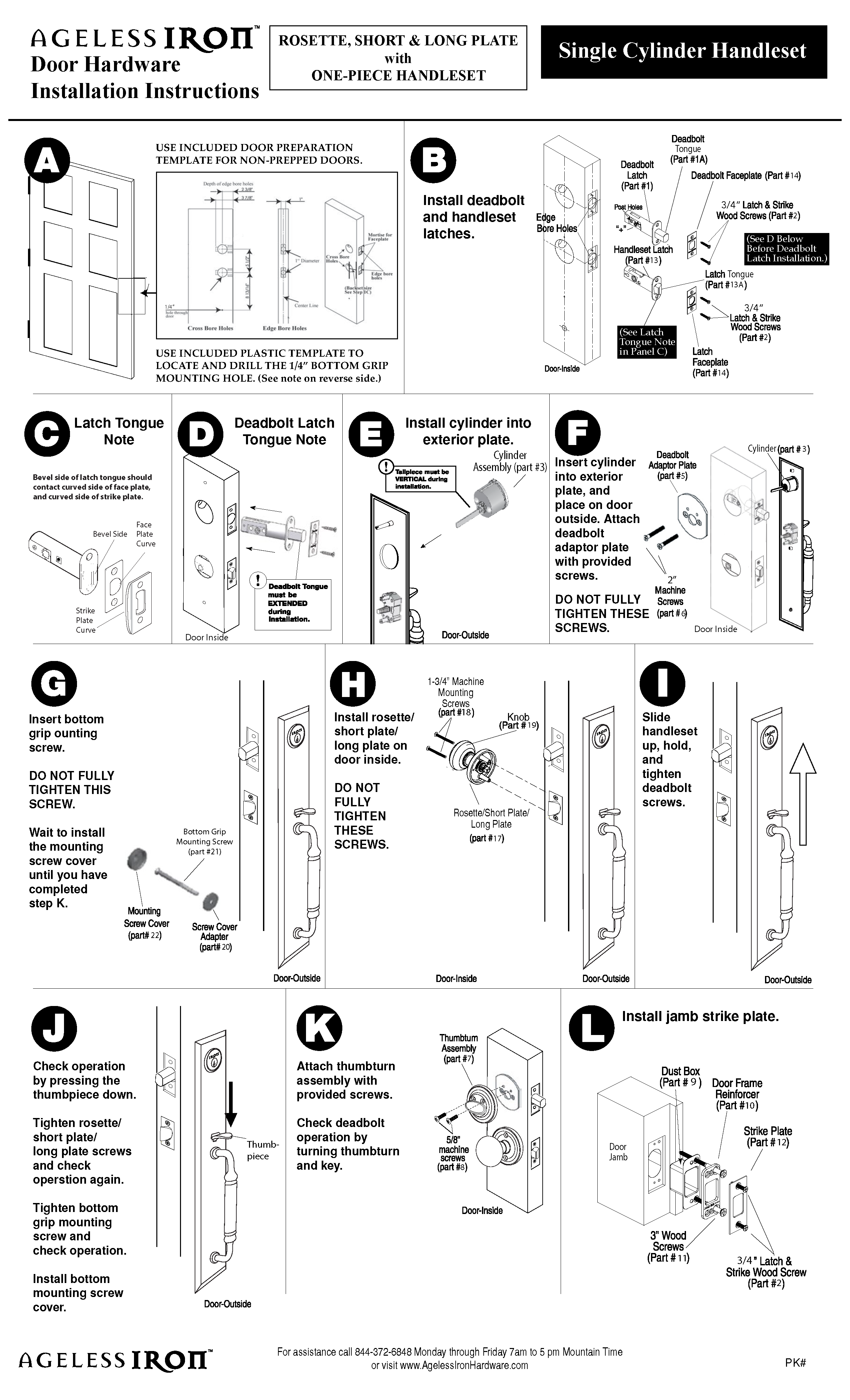 One Piece Entry Handleset Instructions