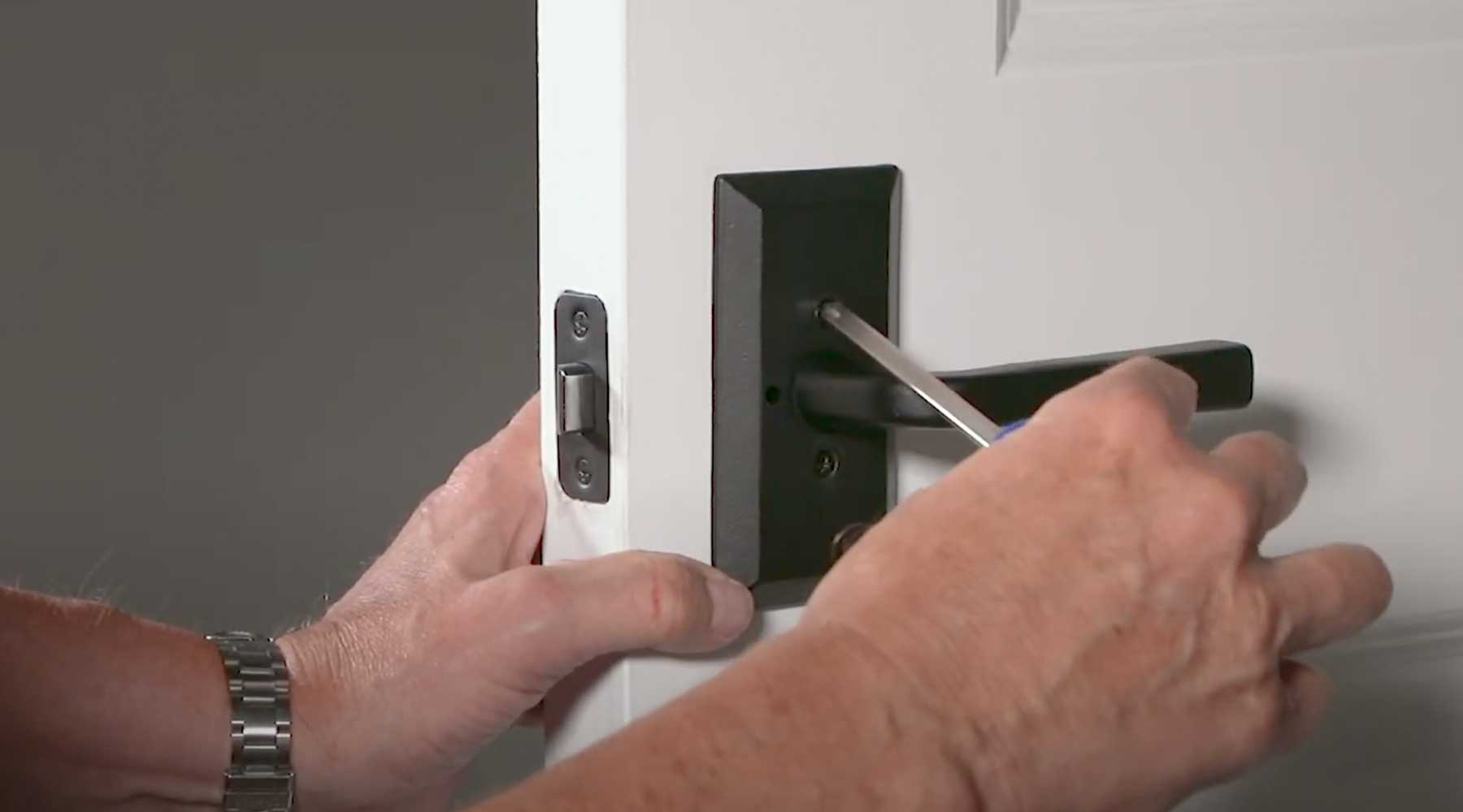 Easy to install black door hardware