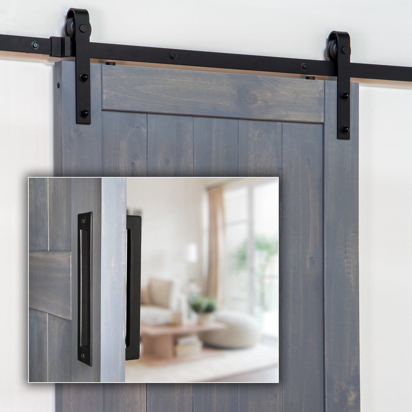 Barn Door Hardware Track Kit (Includes Black Iron Grip and Flush Pull)