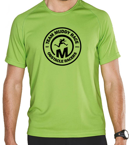 Team Muddy Race Mens Tech Shirt - Green/Black