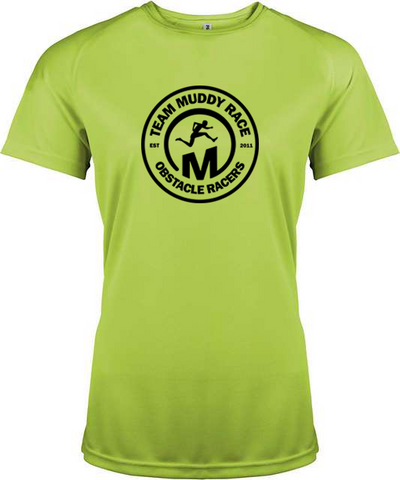 Team Muddy Race Womens Tech Shirt - Green/Black