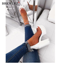 Load image into Gallery viewer, 2020 Office Spring Lace Up High Heels Women Fashion High Heels Square Heels Platform Sandals Party Wedding Sandalias Mujer