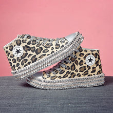 Load image into Gallery viewer, Size 35~43 Women Sneakers Sexy Leopard Print Fashion Rivets Women Canvas Shoes Leisure Lace-Up High Top Sneakers Tenis Feminino