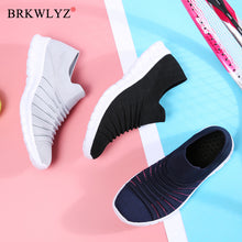 Load image into Gallery viewer, BRKWLYZ Sneakers Women Flats Shoes Summer Breathable Flying Weaving Casual Shoes Woman Slip-on creepers moccasins Ladies Shoes