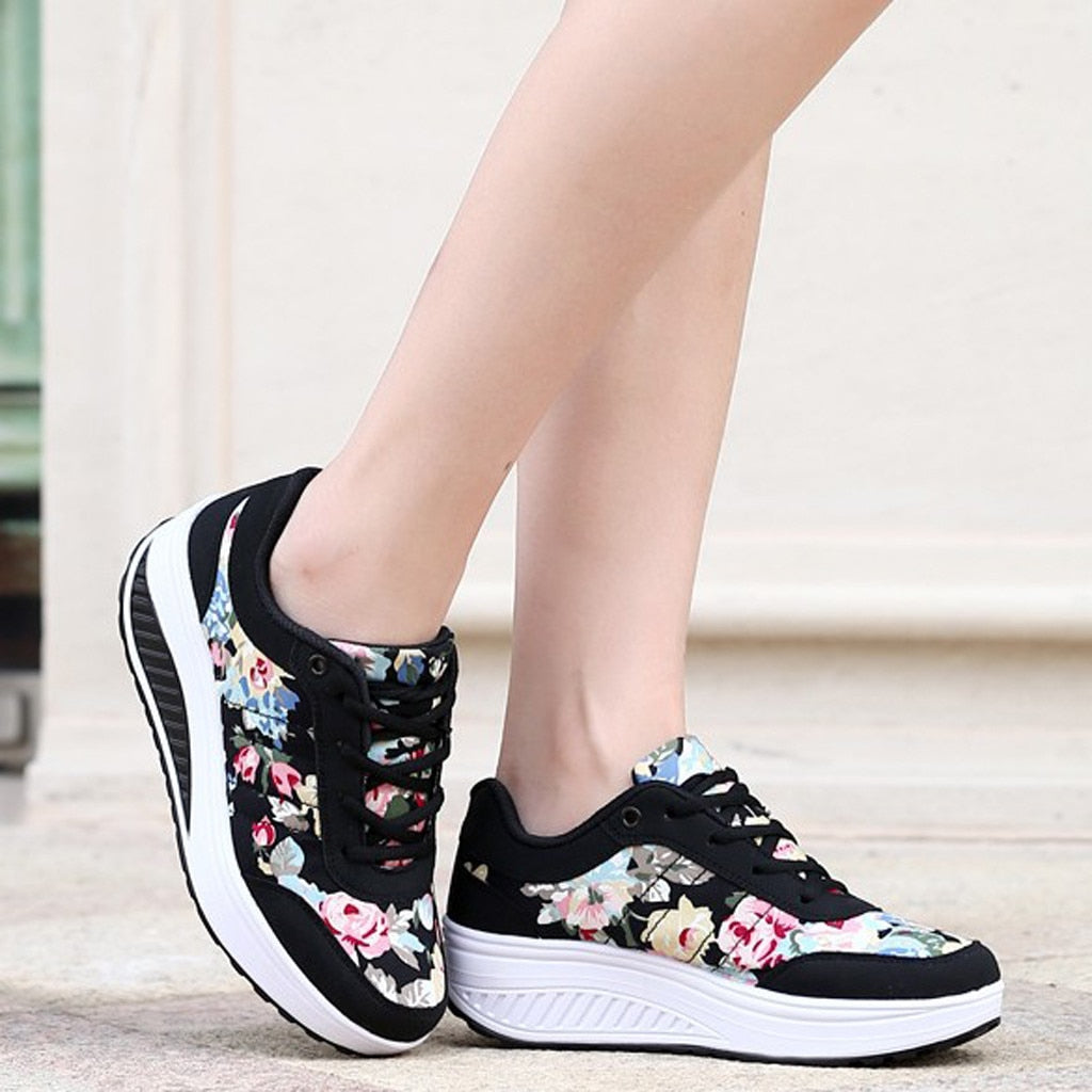 New 2020 Running Sneakers Women Fashion Print Wedge Platform Shoes Woman Casual Sport Mesh Breathable Shoes Zapatillas Mujer