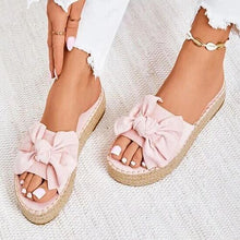 Load image into Gallery viewer, Women's Hemp Slippers Woman Bowtie Thick Bottom Female Solid Platform Shoes Ladies Fashion Summer Outside Footwear Plus Size