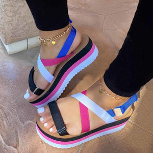 2020 Hot Sale Flat Strap Summer Sandals Woman Shoes Mixed Colors Platform Dropship Shoes Women Sandals Sandalia Feminina