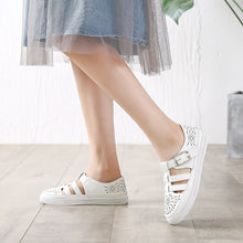 Load image into Gallery viewer, White hollow out gladiator sandals woman plus size 34-43 girls flats breathable sandalias summer cutout sandalia female shoes