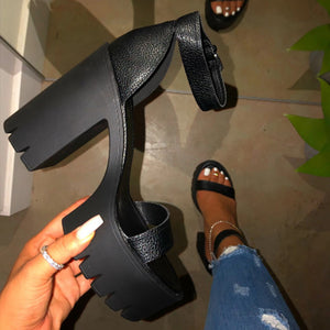 New Women Platform Summer Sandals Buckle Woman Candy Colors Thick High Heels Ladies Ankle Strap Shoes Female Sandalias
