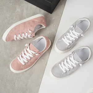 Shoes Woman Gray Canvas Sneakers Lace Up Shoes Flat Loafers Comfortable Vulcanize Shoes Casual