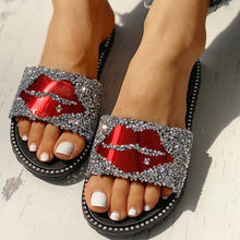 Load image into Gallery viewer, Women Bling Lips Sequined Cloth Summer Slippers Ladies Flat Comfort Casual Beach Shoes Female Slip On Fashion Footwear