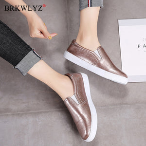 BRKWLYZ New 2020 Autumn Loafers Women Flats Shoes Genuine Leather Casual Shoes Woman Slip-on Ballerina Flats Shoes Ladies Shoes
