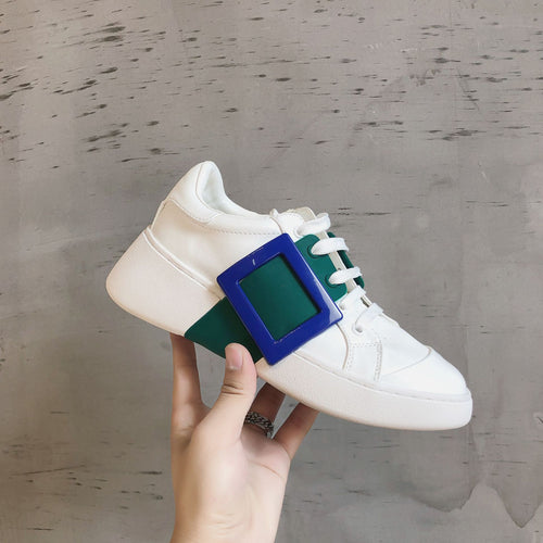 2020 New sneakers Women Fashion Vulcanized Shoes Woman Platform Chunky Ladies Trainers Lace Up Spring Female Flat
