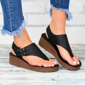 Women's Wedge Sandals 2020 Summer New Solid Color Beach Flat Sandals Shoes Dropshipping Buckle Female Platform Sandals Shoes
