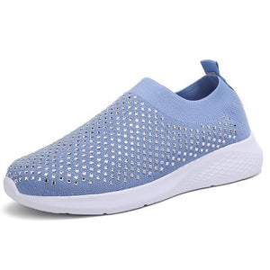 2020 new sneakers comfort summer breathable rhinestones solid slip on walking shoes sports casual plus size vulcanized shoes