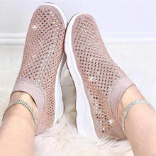 Load image into Gallery viewer, 2020 new sneakers comfort summer breathable rhinestones solid slip on walking shoes sports casual plus size vulcanized shoes