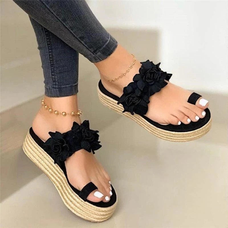 Women Casual Daily Flower Slip On Platform Sandals 2020 Summer Cute Ladies Beach Dress Flat Shoes Dropshipping Female Snadals