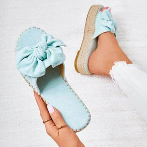Women's Hemp Slippers Woman Bowtie Thick Bottom Female Solid Platform Shoes Ladies Fashion Summer Outside Footwear Plus Size