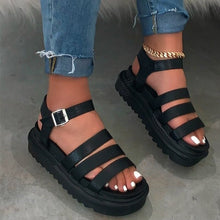 Load image into Gallery viewer, Metal Buckle Travel Spring/summer New Women 2020 Three-layer Leather Bottom Non-slip Sandals Outdoor Platform Sandalia Feminina