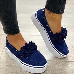 Women's Slip On Loafers 2020 Spring Summer Soft Simple Style Flower Flat Shoes Solid 35-43 Size Female Canvas Shoes Casual Shoes