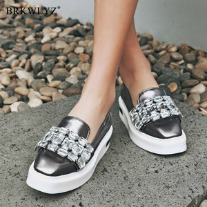 2020 Pearly Lustre Rhinestone Women Flats Shoes 2019 Spring Fashion  Lady Loafers Ladies Slip on retro Platform single Shoes