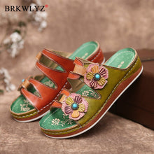 Load image into Gallery viewer, women summer mid heels wedges shoes woman slides slippers outdoor PU flowers beads ethic sandalias mujer sapato feminino