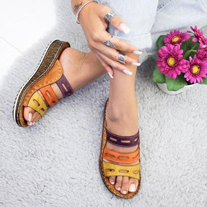 Wedge Heel Slipper 2020 Summer Women Lady Retro Stitching ColorCasual Low  Beach Open Peep Toe Sandals 3 colors Shoes Slides
